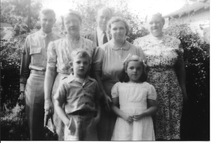 Mary Jesse's Family 1945 Bessie Wolfe - Hampton Jesse, Sr - Bob Vogel (inlaw) Lucille Jesse (Hampton's wife) - Frances Bumpass Beverly Jesse - Hampton Jesse, Jr. Courtesy of Peg Dickinson